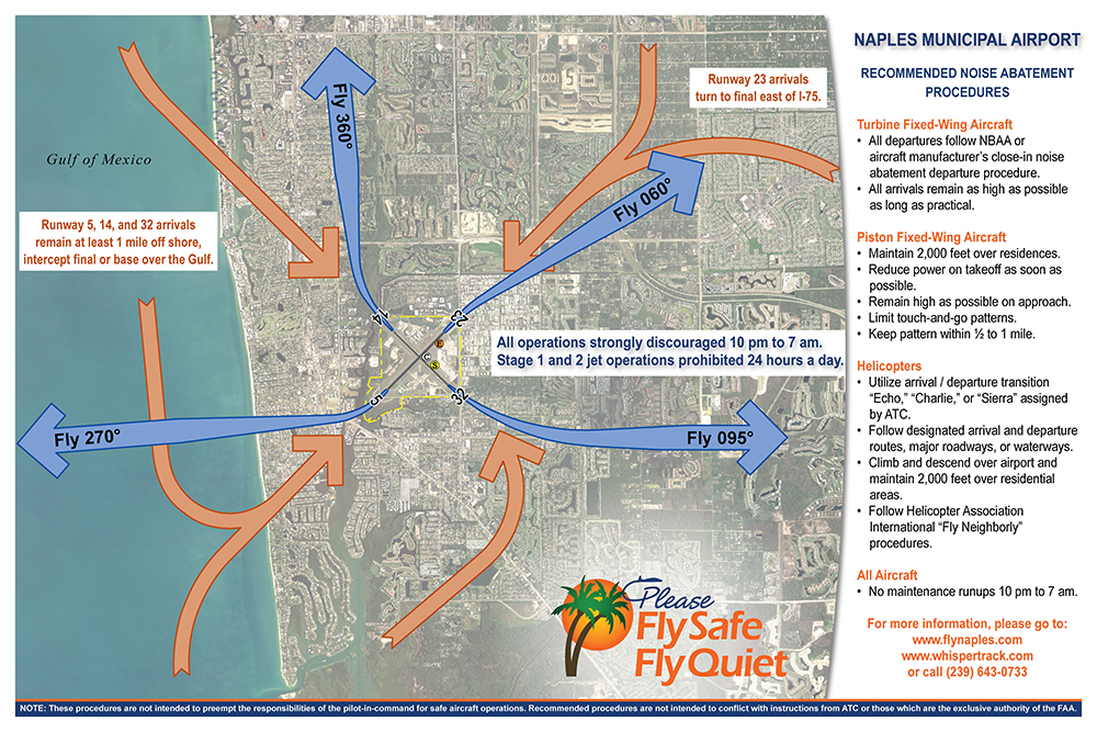 Naples Municipal Airport Recommended Noise Abatement Procedures poster